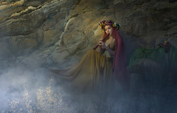 Картинка девушка, цветы, поза, туман, скала, музыка, фантазия, настроение, модель, игра, обработка, платье, арт, пар, фрукты, ...