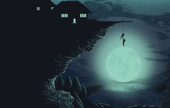 Картинка Moon, forest, trees, minimalism, night, lake, rocks, stars, people, houses, artwork, situation, silhouette, cliff, promontory, …