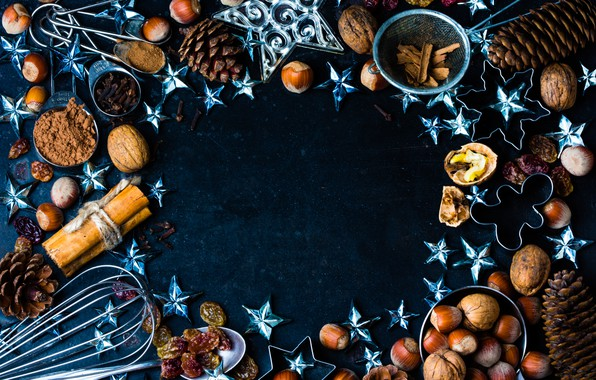 Картинка украшения, Новый Год, Рождество, орехи, корица, happy, Christmas, шишки, New Year, Merry Christmas, Xmas, специи, …