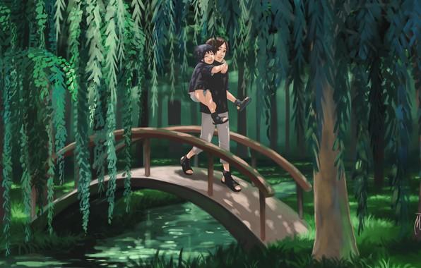 Картинка лес, мост, река, братья, naruto, Itachi Uchiha, Sasuke Uchiha, by blackmarlb0r0