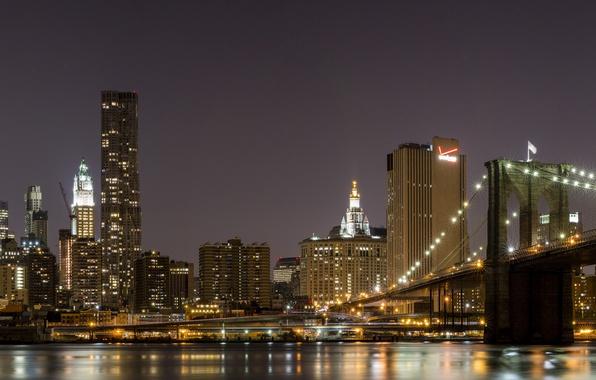 Картинка Дома, Нью-Йорк, Мост, Ночь, Город, Река, Панорама, Небоскребы, США, Бруклинский мост, Манхэттен