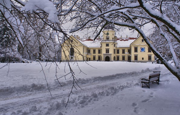 Картинка park, winter, snow, Poland, palace, Tarnobrzeg, Ryszard Kosmala