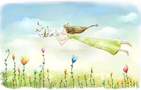 Картинка небо, девушка, полет, цветы, настроение, рисунок, весна, луг, арт, картинка, эйфория, легкие облака