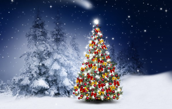 Фото обои зима, снег, украшения, снежинки, шары, елки, Новый Год, Рождество, happy, Christmas, night, winter, snow, Merry ...