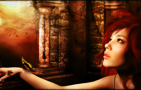 Картинка бабочка, слёзы, Digital Art, рыжая девушка, all_i_can_think_about_is_you_by_brandrificus, brandrificus