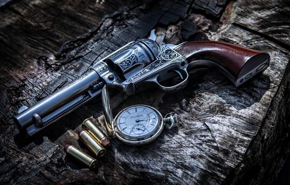 Картинка Gun, Bullets, Weapon, Clock