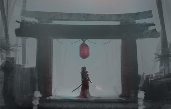 Картинка девушка, оружие, катана, аниме, ворота, арт, фонарик, aoi ogata