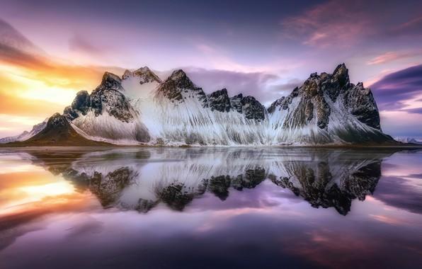 Картинка пляж, небо, вода, свет, горы, отражение, Исландия, прилив, Стокснес