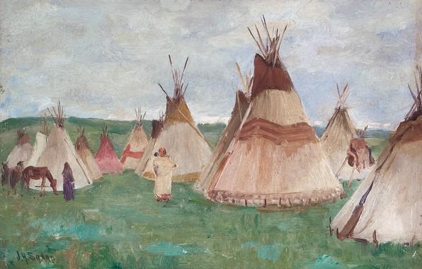Картинка лошадь, жилища, Joseph Henry Sharp, Glacier Park, Blackfoot