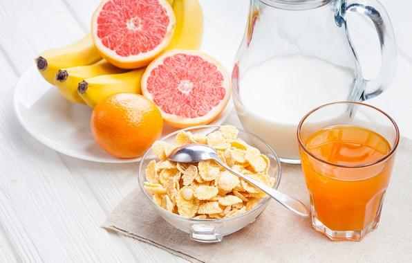 Картинка завтрак, молоко, сок, бананы, хлопья
