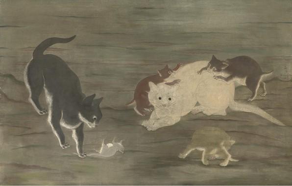 Картинка игра, котята, охота, 1924, Цугухару, Фудзита, Кошки и мышки