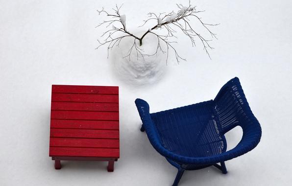 Картинка зима, снег, стол, дерево, стул