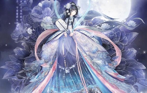 Картинка девушка, цветы, ночь, луна, веер