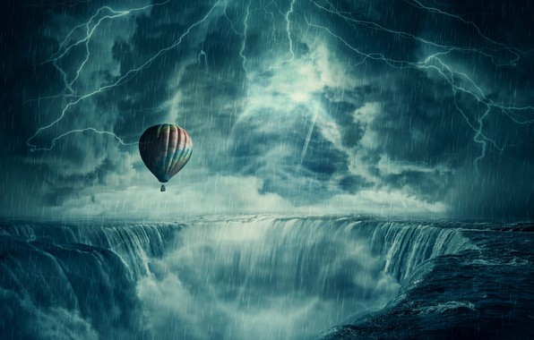 Картинка гроза, воздушный шар, дождь, молния