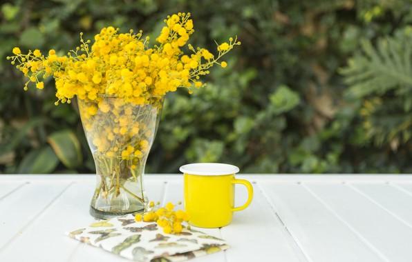 Картинка цветы, букет, желтые, чашка, блокнот, ваза, wood, notebook, flowers, composition