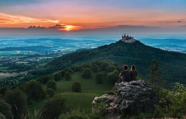 Картинка пейзаж, закат, горы, природа, замок, высота, Германия, крепость, Гогенцоллерн, Штутгарт
