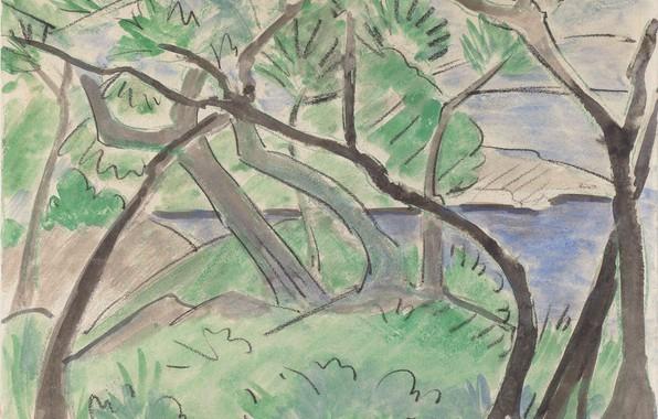 Картинка трава, деревья, речка, Landschaft, 1924, Экспрессионизм, Otto Mueller, Dalmatinische