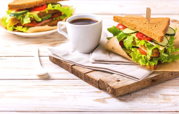 Картинка кофе, еда, завтрак, сыр, хлеб, овощи, бутерброды