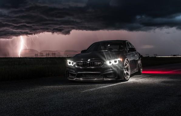 Картинка BMW, Light, Clouds, Black, Night, F80, Lighting, LED