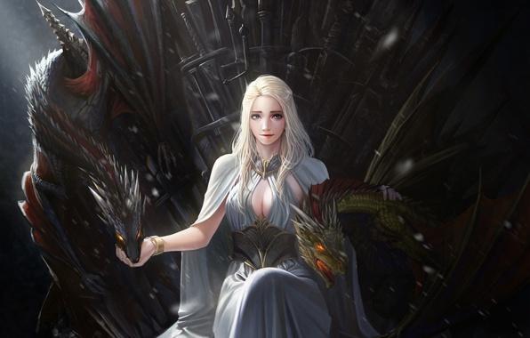 Картинка girl, fantasy, art, films, dragon, Game of Thrones, Daenerys Targaryen, artwork, princess, swords, fantasy art, …