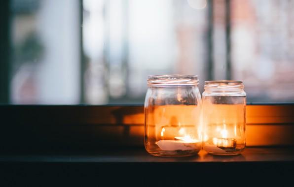 Картинка фон, свечи, банки