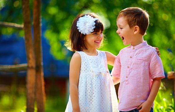 Картинка лето, радость, дети, улыбка, мальчик, платье, девочка, друзья, Smile, children, Dress, Boys, Little girls