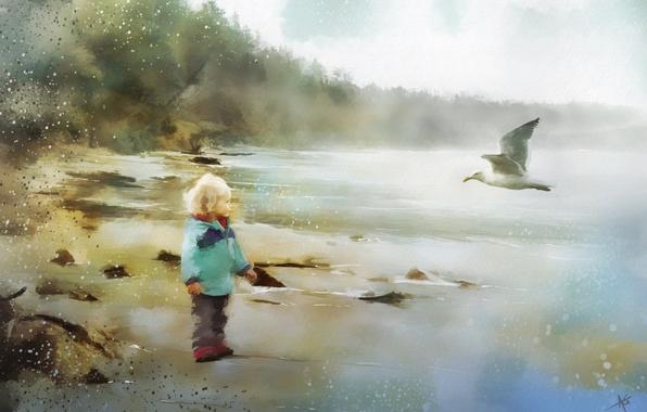 Картинка природа, птица, мальчик