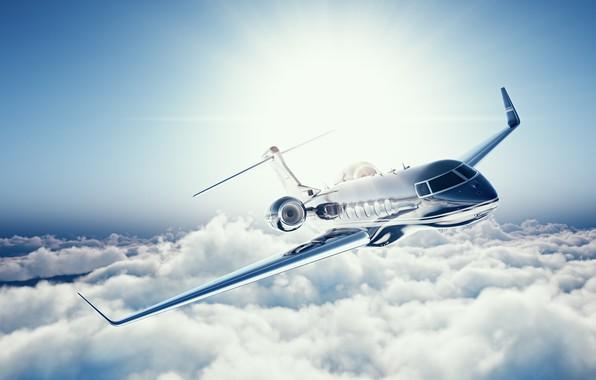Картинка небо, облака, полет, самолет, высота, размытость, airplane, боке, wallpaper., beautiful background, частный самолет, пассажирский административный, ...