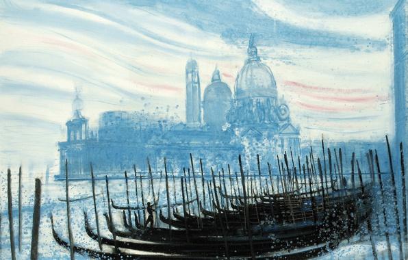 Картинка картина, лодки, Венеция, собор, гондола, городской пейзаж, Andre Brasilier