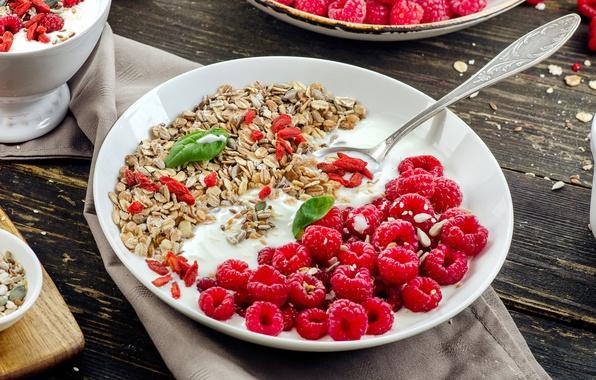 Картинка малина, завтрак, мюсли, йогурт