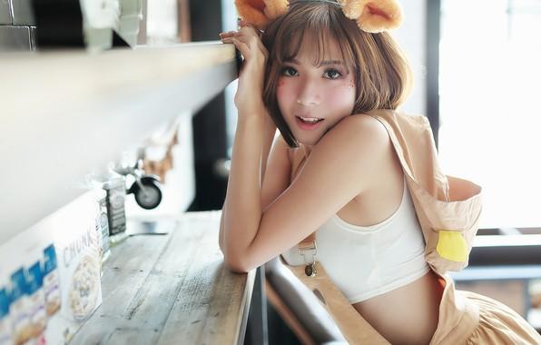 Картинка девушка, азиатка, ушки, Brode十三
