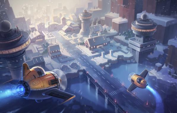 Картинка зима, город, арт, детская, самолётик, Maplestory2 Illustration, JAY KIM