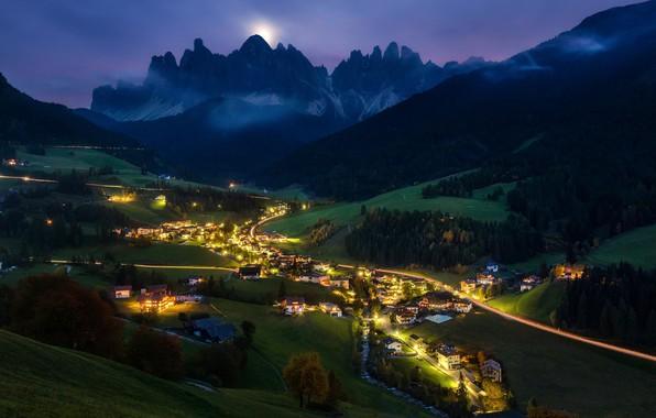 Картинка свет, горы, ночь, долина, Альпы, поселок