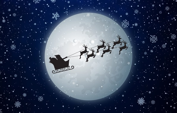 Картинка Зима, Минимализм, Снег, Луна, Новый Год, Рождество, Снежинки, Санта, Праздник, Санта Клаус, Олени, Полнолуние, Санта-Клаус, …
