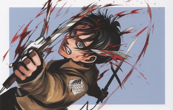 Картинка кровь, ярость, сражение, безумие, клинки, art, военная форма, Eren Yeager, Атака Титанов, Hajime Isayama, Shingeki …