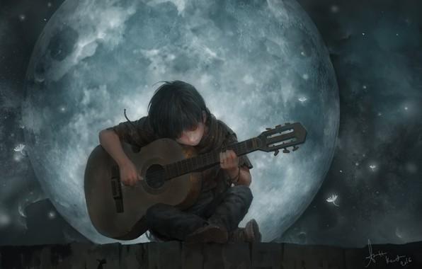 Картинка крыша, настроение, луна, романтика, парень, lee kent, The Song Of The Moon