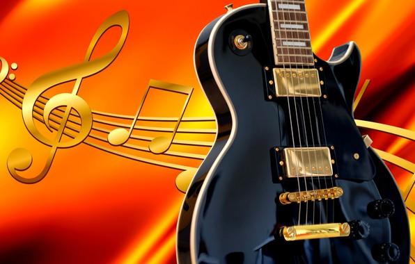 Фото обои гитара, ноты, рендер