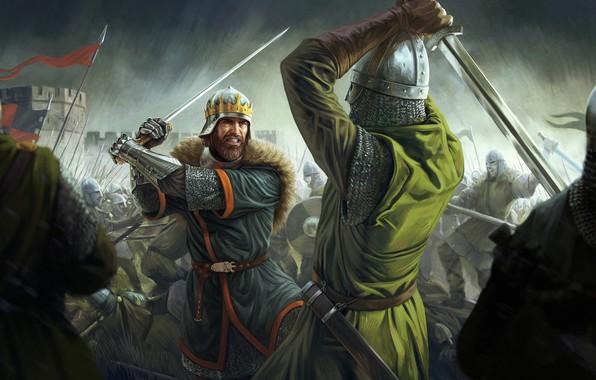 Картинка sword, Total War, soldier, rain, war, crown, man, fight, ken, blade, battle, castle, shield, warrior, …