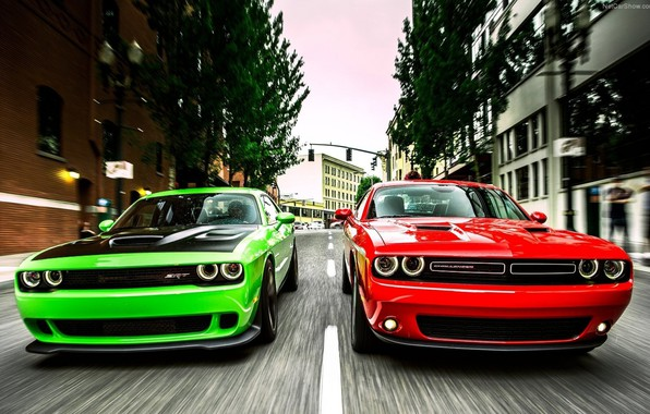 Картинка Muscle, Red, Race, Cars, Dodge Challenger, Green, Speed, Hellcat, SRT