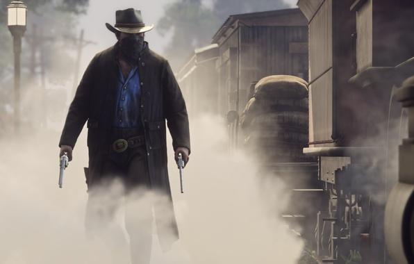 Картинка оружие, дым, ковбой, револьверы, Red Dead Redemption 2, Red Dead