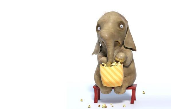 "Картинка рендеринг, настроение, попкорн, слоник, детская, Andrew Buehler, ""Shocked by the Movie"""