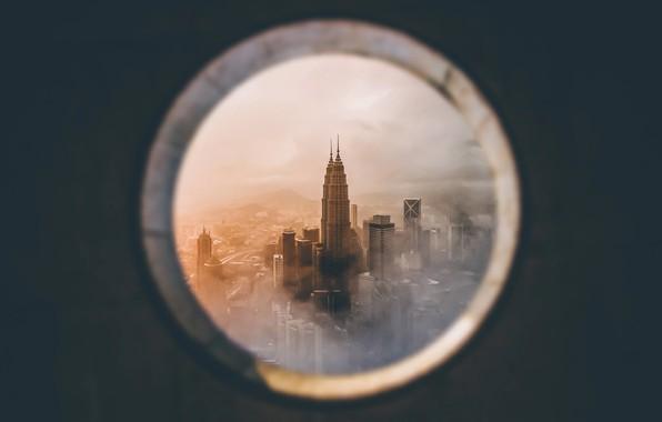 Картинка город, окно, Малайзия, Куала-Лумпур, Башни Петронас