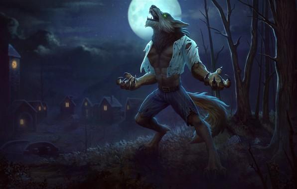 Картинка луна, фэнтези, арт, полнолуние, оборотень, Jon Neimeister, Fenrir Wolfman