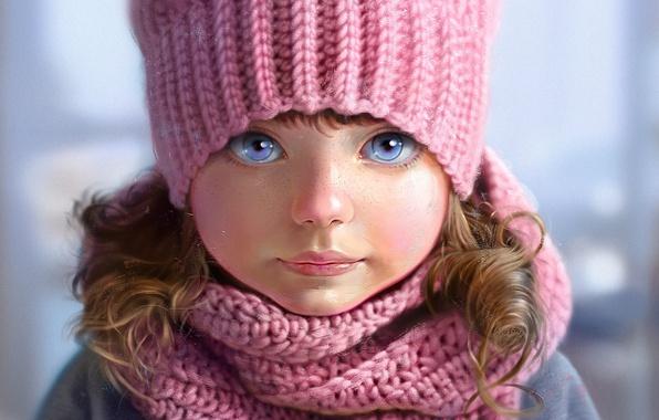 Картинка лицо, шапка, портрет, шарф, девочка, веснушки, розовые, голубые глаза, серый фон, art, вязаная, Nutsa