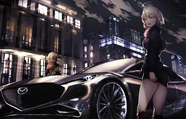 Картинка машина, авто, ночь, город, девушки, Fate / Grand Order