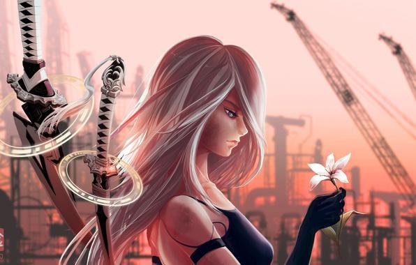 Картинка girl, sword, game, robot, flower, mecha, ken, Nier, blade, artwork, hana, bishojo, guardian, Nier Automata, …
