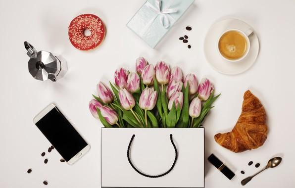 Картинка цветы, Кофе, подарки, тюльпаны, телефон, Праздник, Пончик