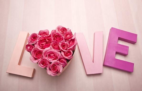 Картинка любовь, сердце, розы, слово, день святого Валентина, День влюбленных