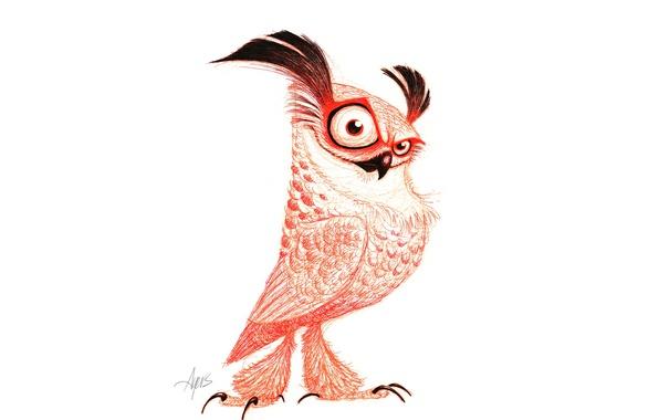 Картинка owl, drawing, Pose, piercing look