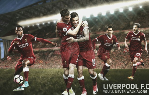 Картинка wallpaper, sport, stadium, football, Liverpool FC, Anfield Road, players